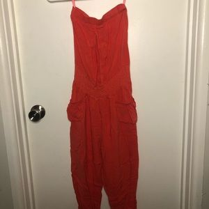 Orange/Red Strapless Love Culture Jumpsuit S